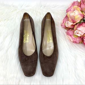 Salvatore Ferragamo Heels Brown Gold Size 8